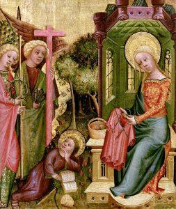 Strickende Madonna von Meister Bertram von Wikimedia Commons